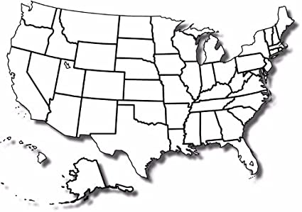 Amazon.com: BLANK UNITED STATES MAP POSTER PICTURE PHOTO BANNER ...