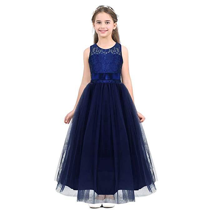 0fd5afa6ced4 Amazon.com  Freebily Kids Girls Sleeveless Floral Lace Tulle Flower ...