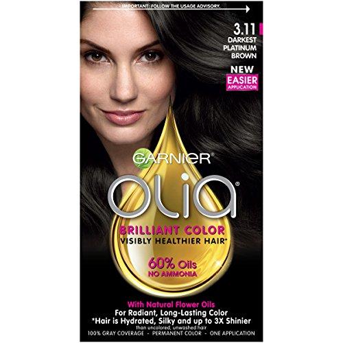 Garnier Olia Hair Color, 3.11 Darkest Platinum Brown, Ammoni