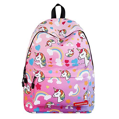 SWYIVY Rainbow Dream Unicorn Cute Bookbags for School Kids-Dark Pink