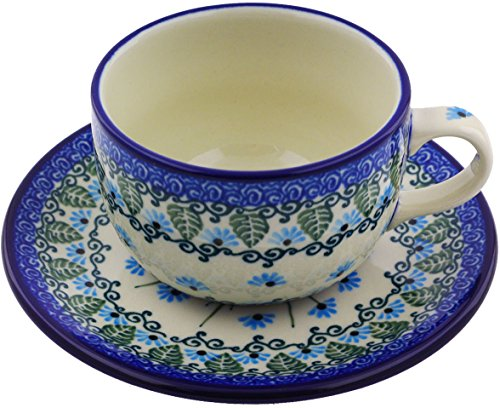 Oven Saucers Cups Safe (Polish Pottery 9 oz Cup with Saucer made by Ceramika Artystyczna (Forget Me Not Theme))