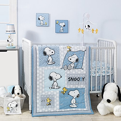 Bedtime Originals Peanuts Forever Snoopy 3 Piece Crib Bedding Set, - Ruffle Dot Circle Blanket