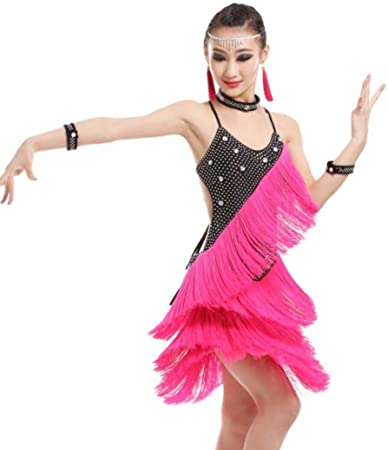 YZLL Vestido De Baile Latino para NiñAs Falda De Borla Disfraz De ...