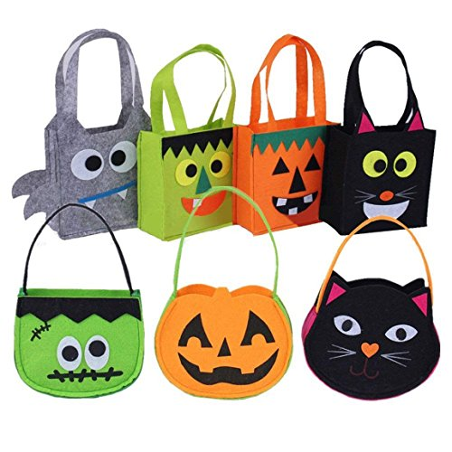 Everyday Is Halloween Trick Or Treat (Set of 7 Halloween Candy Totes Bags Cute Gift Handbag Basket Buckets Trick or Treat Bags for Kids Halloween Home Party Favor Bags)