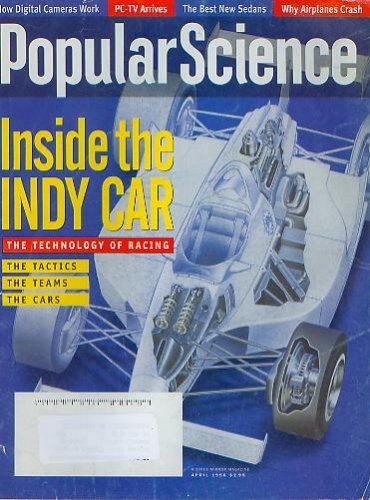 Car Magazine Racing Indy (Popular Science April 1996 - Inside the Indy Car, Digital Cameras, PC-TV Arrives, Why Airplanes Crash)