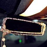 FULL WERK Car Charm Brilliant Shining Diamond Butterfly Rearview Mirror Bling Bling for Girls Woman, Car Interior Trim, Best Birthday Holiday Gift (Purple)