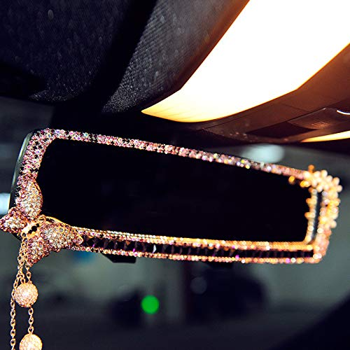 FULL WERK Car Charm Brilliant Shining Diamond Butterfly Rearview Mirror Bling Bling for Girls Woman, Car Interior Trim, Best Birthday Holiday Gift (Purple) ()