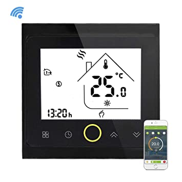 Yiruy Programmable WiFi Thermostat for Boiler Heating LCD Display Smart WiFi Temperature Controller Compatible with Alexa