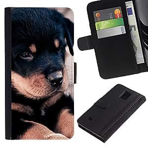 EuroCase - Samsung Galaxy Note 4 SM-N910 - Rottweiler retriever puppy black dog - Cuero PU Delgado caso cubierta Shell Armor Funda Case Cover