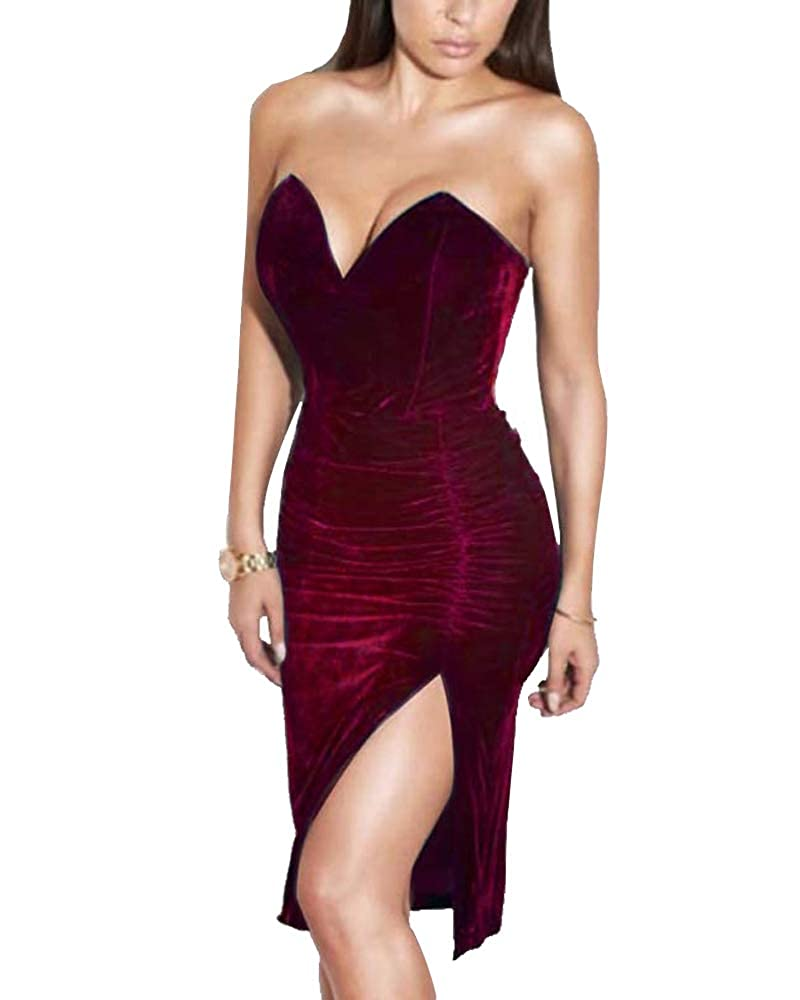 6b6688cbaee02 Joyfunear Women's Sexy Strapless Ruched Velvet Split Bodycon Midi Dress