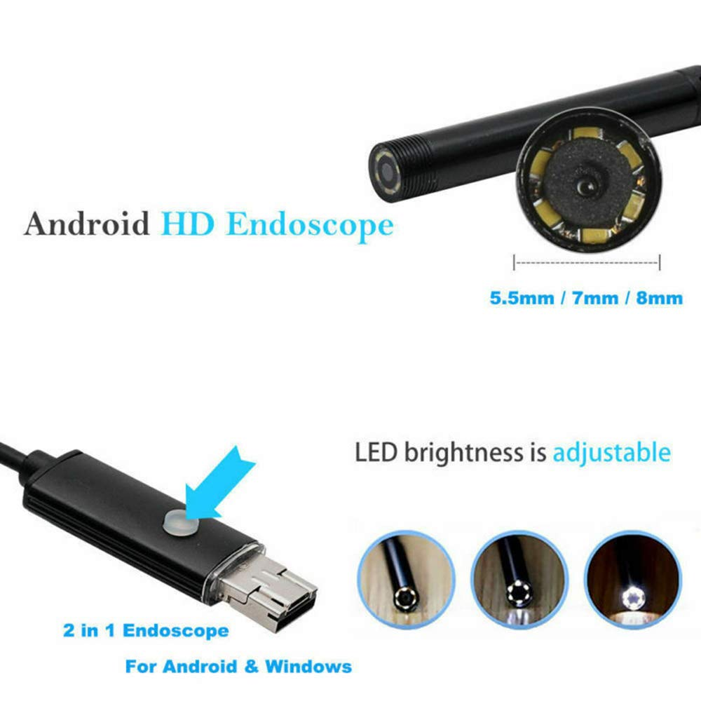 WIFI Endoscope Inspection Camera IP67 Waterproof Flexible Snake Camera with 6 LED Lights For Android /& IOS Smartphone Mac Hard-2M Wireless Borescope