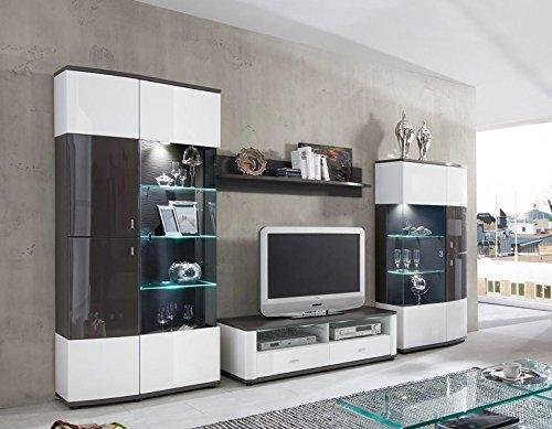 Wohnwand \'Toro\' Hochglanz lackiert Weiß Grau Vormontiert online ...