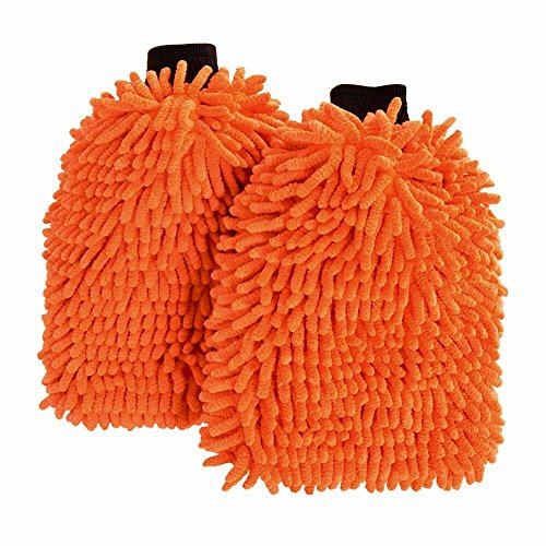 Liquid X Premium Chenille Microfiber Wash Mitt – Orange – Extra Large Size – 12″ x 9″ (2 Pack)