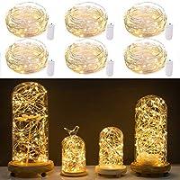 Paquete de 6 luces de cadena Starry Moon LED con 20 micro LEDs en alambre de cobre recubierto de plata de 7 pies, 2 x batería CR2032 (incluidas), para bricolaje de centro de bodas o decoraciones de mesa (blanco cálido)