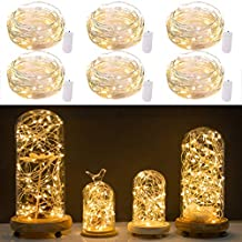 Pack of 6 LED Starry String Lights with 20 Micro LEDs on 7ft Silver Copper Wire, 2 x CR2032 Battery Power(Included), for DIY Wedding Centerpiece or Table Decorations (Warm White)
