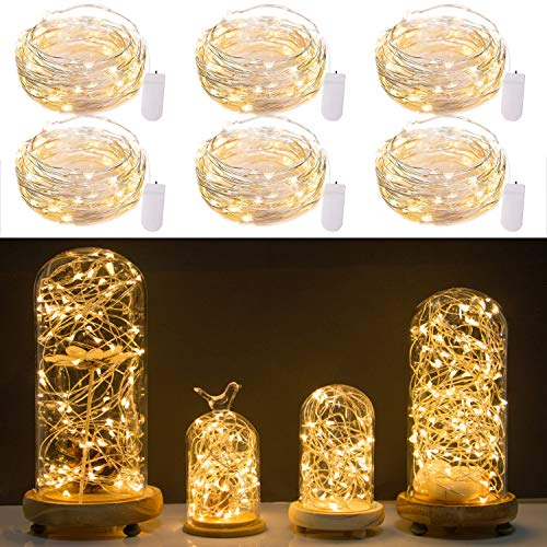 Pack of 6 LED Fairy Lights 20 Micro Starry LEDs on Silver Extra Thin Copper Wire, 2 x CR2032 Batteries Required and Included, 7Ft (2m) for DIY Wedding Centerpiece or Table Decorations (Warm White)]()