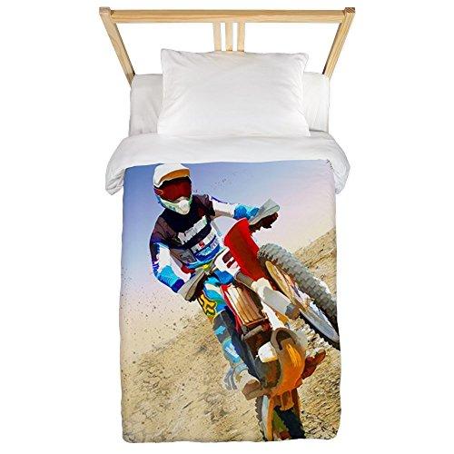 CafePress - Desert Wheelie Motocross Twin Duvet - Twin Duvet Cover, Printed Comforter Cover, Unique Bedding, Microfiber