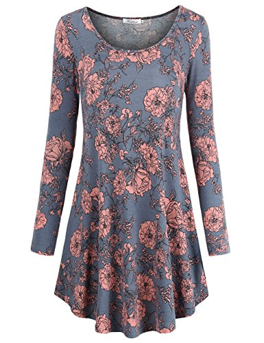 Faddare Tee Shirt Dress, Women's Cotton Fit and Flare Flowy Printed Loose Tunic Dresses, Grey Pink L -