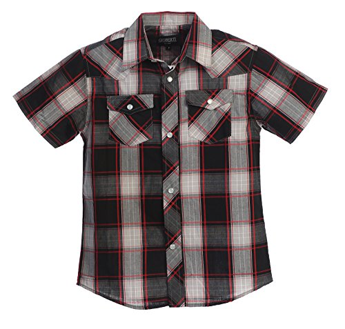 Gioberti Boys Casual Western Plaid Pearl Snap Short Sleeve Shirt, Black/Red/Gray : Size 4