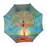 Orange Tree Of Life Reverse/Inverted Double-Layer Waterproof Straight Umbrella Inside-Out for Car Use