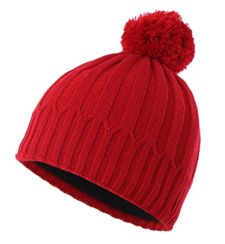 Beanie Red Kids (Home Prefer Toddler Boys Winter Hat with Fleece Warm Knit Skull Beanie with Pom (Red))