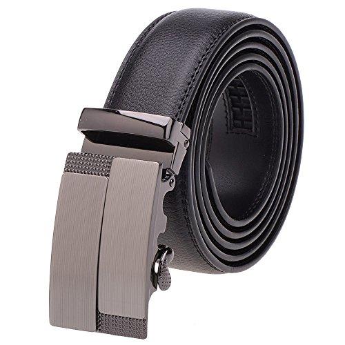 Vbiger Herrer Gürtel Ledergürtel Vollrindledergürtel Schwarz Gürtel aus Leder Automatik Gürtel für Business Geschäft (DG101)