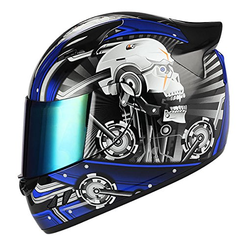 1STORM MOTORCYCLE BIKE FULL FACE HELMET MECHANIC SKULL - Tinted Visor BLUE