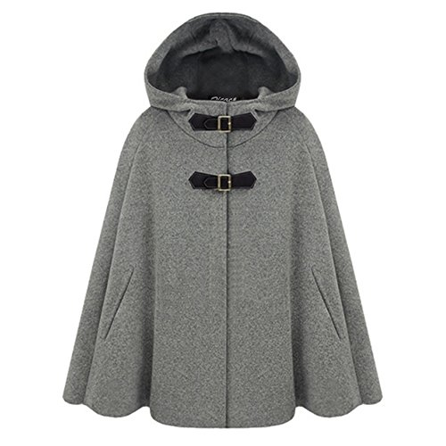 Zicac Women's Batwing Cape Wool Poncho Jacket Warm Cloak Coat with Hood (L, Gray)