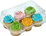 "Clear Cupcake Boxes Cupcake Containers Plastic Disposable cupcake boxes carrier containers 4"" High for high topping - Holds 6 Cupcakes Each- 12/Pack"