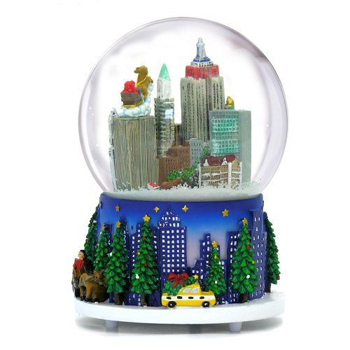 5.25 Inch MUSICAL New York City Christmas Snow Globe and Rockefeller Center Skyline NYC Snow Globes by City-Souvenirs (Image #1)