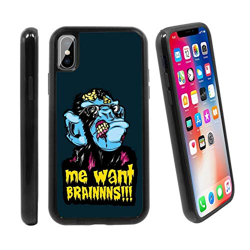 [Zombie Monkey Chimp Pop Culture Halloween Style] for Apple iPhone X/iPhone 10 (2017), Hybrid Heavy Duty Armor Shockproof Silicone Cover Rugged case -