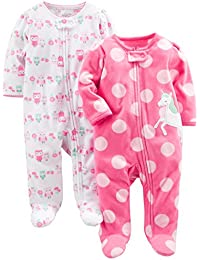 Baby Girls' 2-Pack Fleece Footed Sleep-and-Play