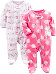 Baby Girls 2-Pack Fleece Footed Sleep and Play