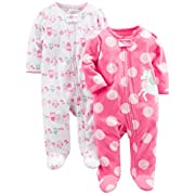 Simple Joys by Carter's Baby Girls' 2-Pack Fleece Footed Sleep and Play, Owl,Unicorn, Newborn