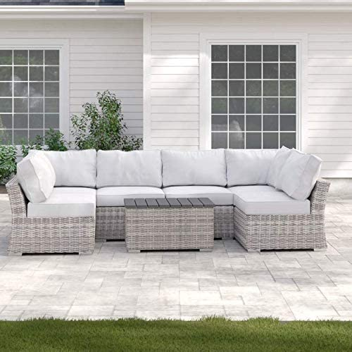Century Modern Outdoor Marina Collection Patio Sofa Set, Wicker Rattan Outdoor Seating Aluminium Frame Furniture with Cushioned Seat CM-4906 7 Pieces Grey