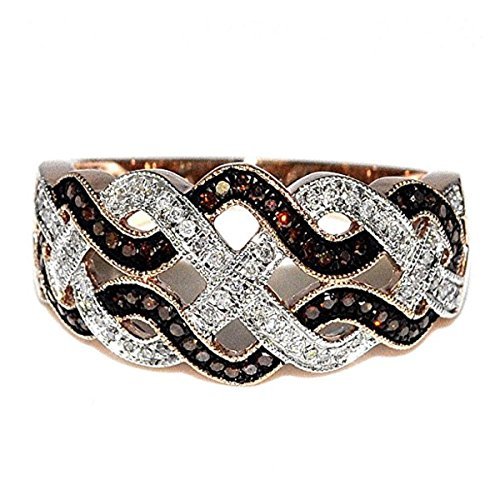 10K Rose Gold Fashon Anniversary Ring With Cognac and White Diamonds (1/4 cttw, i2/i3 Clarity)
