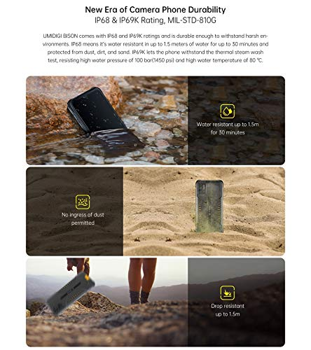 BISON Rugged Phone, 6GB+128GB, IP68/IP69K Waterproof Dustproof Shockproof, Quad Back Cameras, 5000mAh Battery, Fingerprint Identification, 6.3 inch Android 10.0 MTK Helio P60 Octa Core up to 2.0GHz