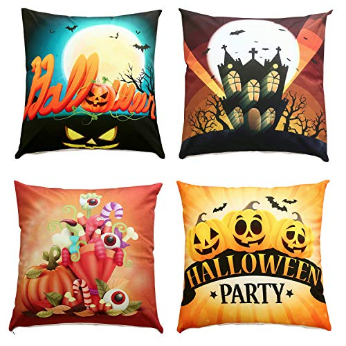 Set Sunday Palm (Sunday Praise Pack of 4 Halloween Decorative Velvet Throw Pillow Cover Set Bat Pumpkin Decor Cushion Cover Square Pillow Case for Home Sofa Bed Couch 18 x 18 Inch 45 x 45 cm)