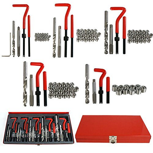 Price comparison product image Marketworldcup - 131 pc Stripped Thread Rethread Helicoil Repair Kit Metric M5 M6 M8 M10 M12 Kit / Set