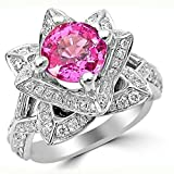 Smjewels 2.0 Ct Round Pink Sapphire & Sim.Diamond Lotus Flower Ring In 14K White Gold Plated