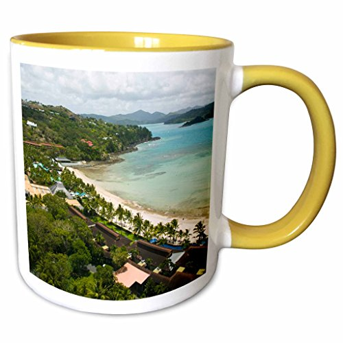 3dRose Danita Delimont - Coastlines - Australia, Whitsunday, Hamilton Island coastline-AU01 WBI0552 - Walter Bibikow - 11oz Two-Tone Yellow Mug (mug_71266_8) - Hamilton Island Light