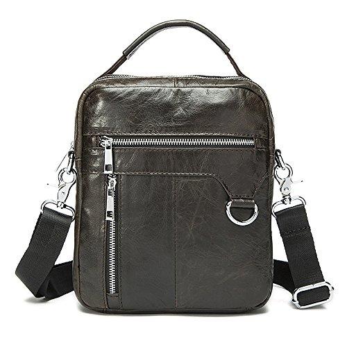 Stepack Vintage Genuine Cowhide Leather Men's Small Mesenger Bag Travel Bag Shoulder (Bag Dark Coffee)
