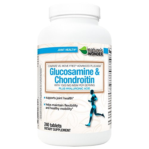 - Nature's Wonder Glucosamine 1500MG Chondroitin 200MG MSM 1500MG Tablets, 240CT, Compare vs. Move Free® Advanced Plus MSM