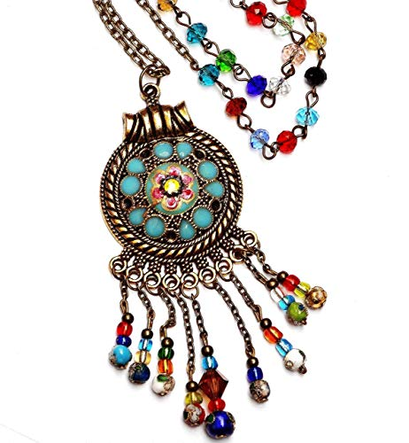 Colorful Long Bohemian Necklace with Painted Flower Pendant and Dangling Crystal Glass Beads Boho Jewelry