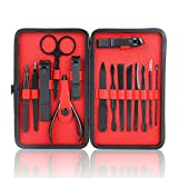 Manicure Set, Stainless Steel Nail Clipper Trimmer Set With Case, 15pcs Professional Grooming Kit - Facial, Cuticle and Nail Care for Men and Women (Red)