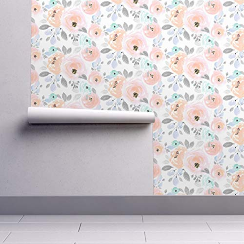Peel-and-Stick Removable Wallpaper - Floral Floral Blush Gray Vintage Home Decor Nursery Floral Peony by Crystal Walen - 12in x 24in Woven Textured Peel-and-Stick Removable Wallpaper Test Swatch