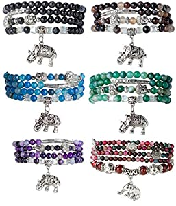 SPUNKYsoul Good Luck New Beginnings Agate Silver Plated Buddha Elephant Charm Bead Wrap Bracelet Mala Collection