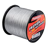 Baikalbass SuperPower Braided Fishing Line 4 Strands Strong Multifilament PE Braid Wire for Saltwater 547Yard/500M 50LB Gray