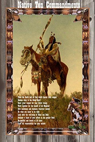 A 11x17 All Wood Sign Poster Native American Indian Ten Commandments And Prayer (Ten Native American Commandments)