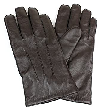 Men's Genuine Leather Winter Gloves Wool Lining Straight Wrist Design - Brown X-Large